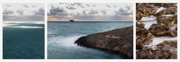 Triptych of three coastal landscapes, Zurrieq, Malta