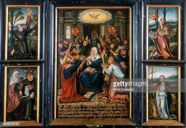Triptych with the central panel showing the Holy Spirit at Pentecost The left panel depicts Francis of Assisi receiving stigmata and Saint Elizabeth...