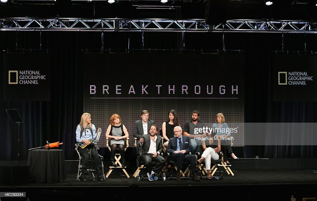 Trish Aelker, Maria Croyle, Brian Kennedy, Laura Deming, Aaron Mandell and Dr. Sandra Postel (Front L-R) Director Brett Ratner, executive producer Kurt Sayenga and director Angela Bassett speak onstage during the 'Breakthrough' panel discussion at the National Geographic Channel portion of the 2015 Summer TCA Tour at The Beverly Hilton Hotel on July 29, 2015 in Beverly Hills, California.
