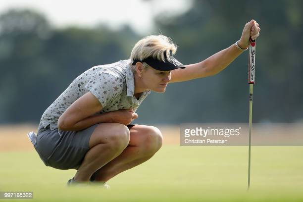 Trish Johnson of England looks over the seventh green during the first round of the US Senior Women's Open at Chicago Golf Club on July 12 2018 in...