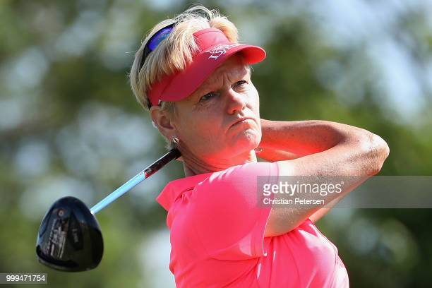 Trish Johnson of England plays a tee shot on the second hole during the final round of the US Senior Women's Open at Chicago Golf Club on July 15...