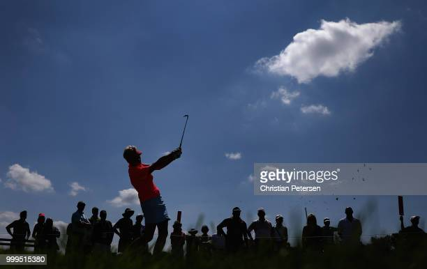 Trish Johnson of England plays a tee shot on the seventh hole during the final round of the US Senior Women's Open at Chicago Golf Club on July 15...