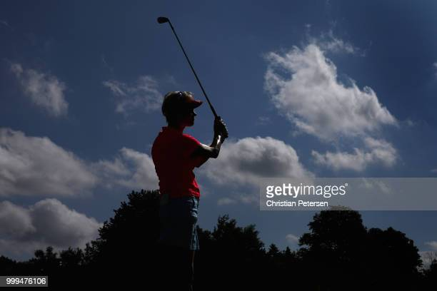 Trish Johnson of England plays a tee shot on the third hole during the final round of the US Senior Women's Open at Chicago Golf Club on July 15 2018...