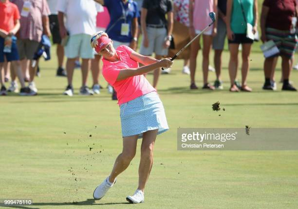 Trish Johnson of England plays her third shot on the second hole during the final round of the US Senior Women's Open at Chicago Golf Club on July 15...