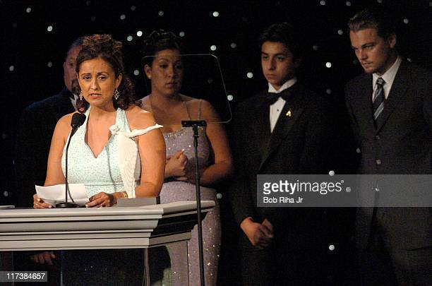 Trish Meraz whose son, Dustin, then 11, passed away from neuroblastoma, a childhood cancer, received the Courage to Care Award from Leonardo DiCaprio...