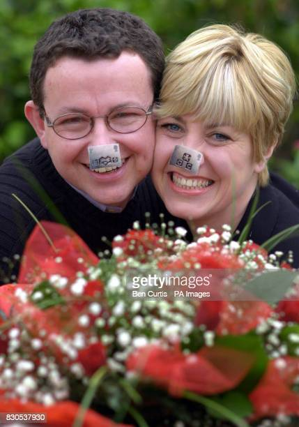 Trish Prater and Trevor Kearon who became a couple after taking part in the BBC's programme Castaway help launch the Royal Mail's new stamps at the...