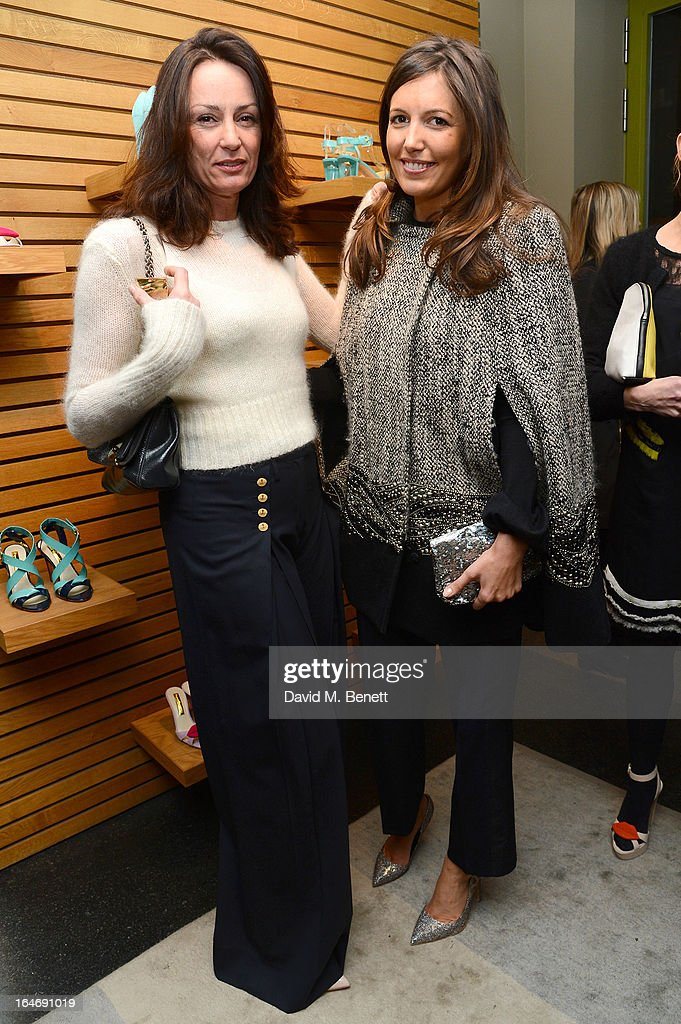 Trish Simonon and Amanda Ferry attend a cocktail party for shoe designer Rupert Sanderson, hosted by Mariella Frostrup, at his Bruton Place store on March 26, 2013 in London, England.