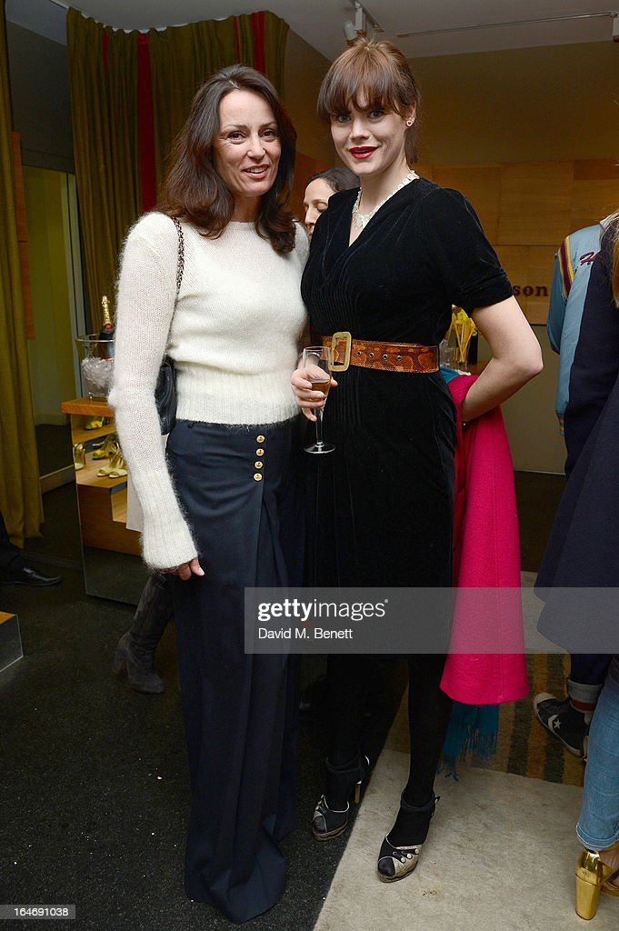 Trish Simonon and Jasmine Guinness attend a cocktail party for shoe designer Rupert Sanderson, hosted by Mariella Frostrup, at his Bruton Place store on March 26, 2013 in London, England.