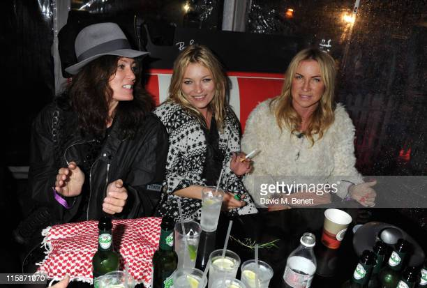 Trish Simonon Kate Moss and Meg Mathews attend the RayBan Rooms during day one of the Isle of Wight Festival 2011 at Seaclose Park on June 10 2011 in...