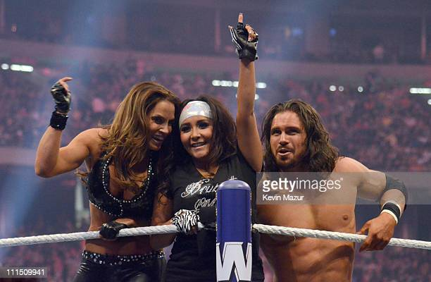Trish Stratus Nicole Snooki Polizzi and John Morrison during WrestleMania XXVII at Georgia Dome on April 3 2011 in Atlanta Georgia
