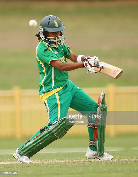 Trisha Ghetty of South Africa cuts a ball during the ICC Women's World Cup 2009 round two group stage match between Australia and South Africa at...