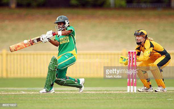 Trisha Ghetty of South Africa pulls a ball during the ICC Women's World Cup 2009 round two group stage match between Australia and South Africa at...