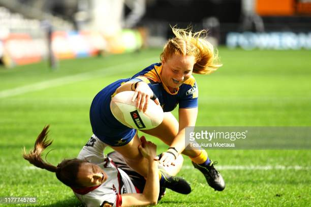 Trisha Hopcraft of Otago scores a try during the round 5 Farah Palmer Cup match between Otago and North Harbour at Forsyth Barr Stadium on September...