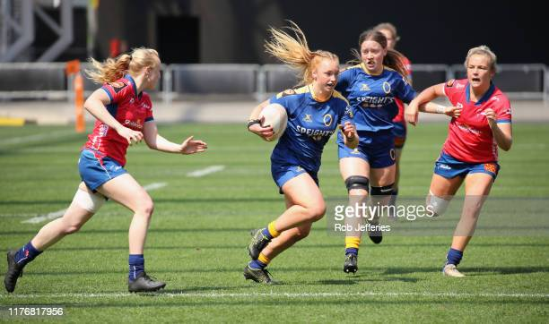 Trisha Hopcroft of Otago on the attack during the Farah Palmer Cup Championship Semi Finals match between Otago and Tasman at Forsyth Barr Stadium on...