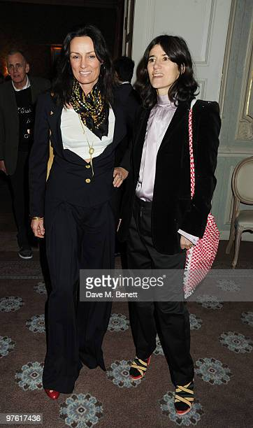 Trisha Simonon and Bella Freud attend the Nancy Mitford 'Wigs on the Green' reissue party held by Catherine Ostler and the Dowager Duchess of...
