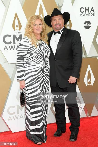 Trisha Yearwood and Garth Brooks attend the 53rd annual CMA Awards at the Music City Center on November 13 2019 in Nashville Tennessee