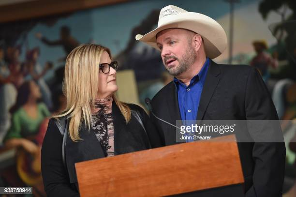 Trisha Yearwood and Garth Brooks speak at the 2018 Country Music Hall Of Fame Inductees Announcement at Country Music Hall of Fame and Museum on...