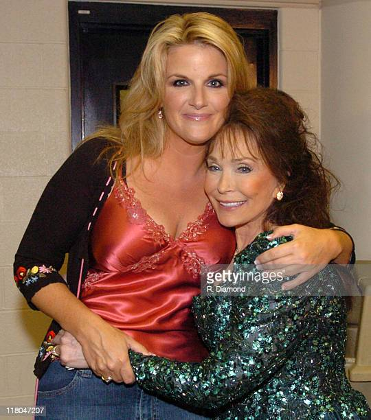 Trisha Yearwood and Loretta Lynn during 2005 CMT Music Awards Backstage at Gaylord Entertainment Center in Nashville Tennessee United States