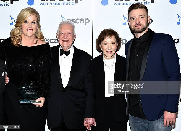 Trisha Yearwood President Jimmy Carter Rosalynn Carter and Justin Timberlake attend the 53rd annual ASCAP Country Music awards at the Omni Hotel on...