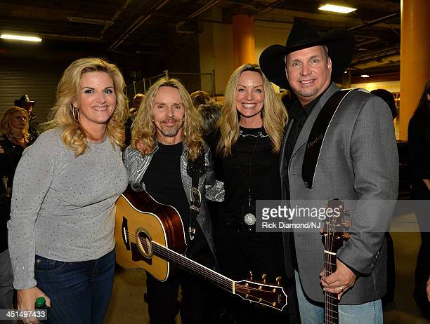 Trisha Yearwood, Styx's Tommy Shaw, Jeanne Mason, and Garth Brooks attend Playin' Possum! The Final No Show Tribute To George Jones at Bridgestone...