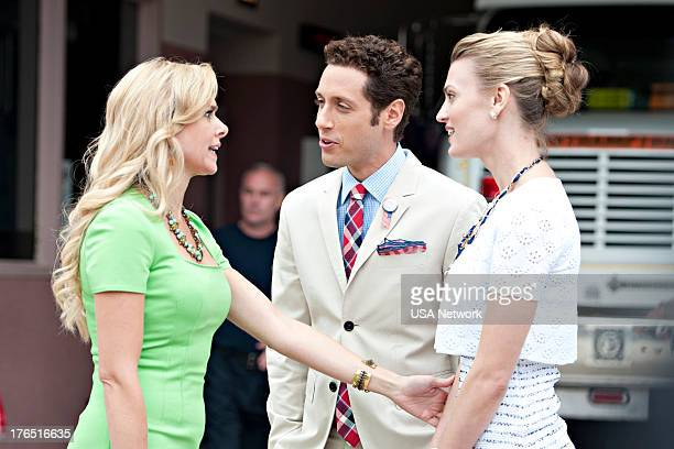 PAINS A Trismus Story Episode 512 Pictured Laura Bell Bundy as Gina Paulo Costanzo as Evan Lawson Brooke D'Orsay as Paige Collins