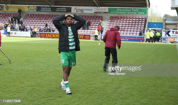 Tristan Abrahams of Yeovil Town shows despair after a draw in the game relegated his team from the football league during the Sky Bet League Two...