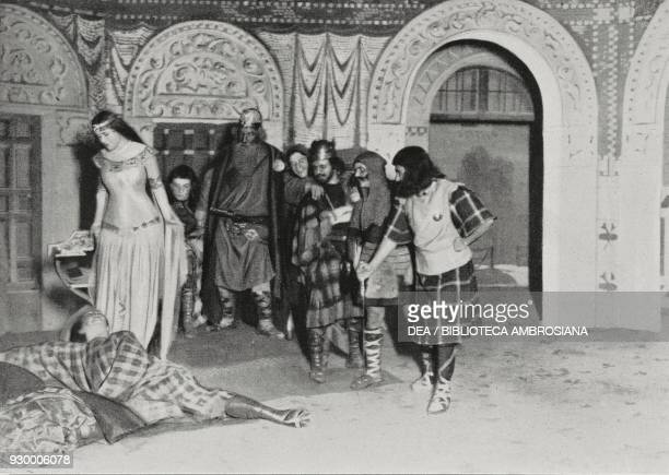Tristan at the foot of Isolda Act II scene of Tristan and Isolde drama by Ettore Moschino from the representation at the Teatro Lirico in Milan Italy...