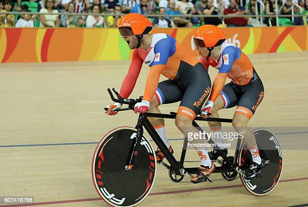 Tristan Bangma and Teun Mulder of Netherlands competes in the Men's B 1000m Time Trial Track Cycling on day 4 of the Rio 2016 Paralympic Games at the...