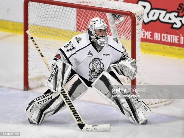 Tristan Berube of the Gatineau Olympiques protects his net against the BlainvilleBoisbriand Armada during the QMJHL game at Centre d'Excellence...