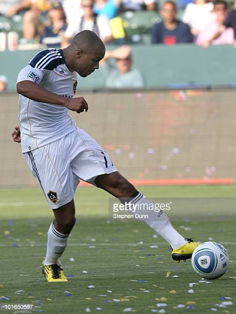 Tristan Bowen of the Los Angeles Galaxy shoots and scores the Galaxy's third goal against the Houston Dynamo on June 5 2010 at the Home Depot Center...
