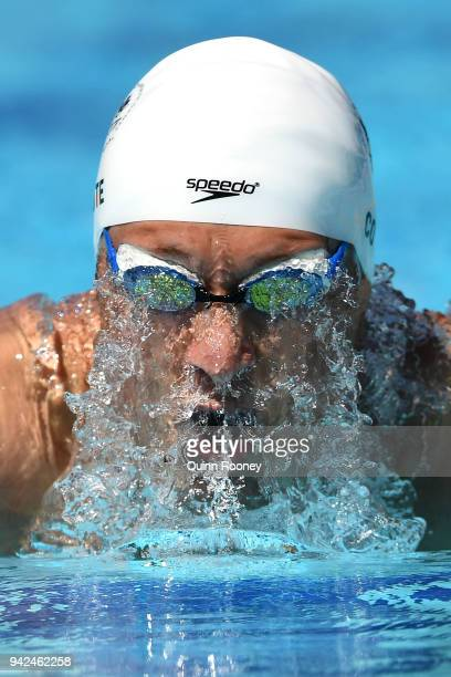 Tristan Cote of Canada competes during the Men's 400m Individual Medley Heat 2 on day two of the Gold Coast 2018 Commonwealth Games at Optus Aquatic...