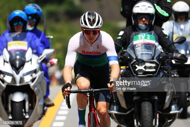 Tristan De Lange of Team Namibia in the breakaway during the Men's road race at the Fuji International Speedway on day one of the Tokyo 2020 Olympic...