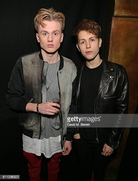 Tristan Evans and James McVey from The Vamps attend a private party hosted by Three with william to launch his new smart device dial which will be...