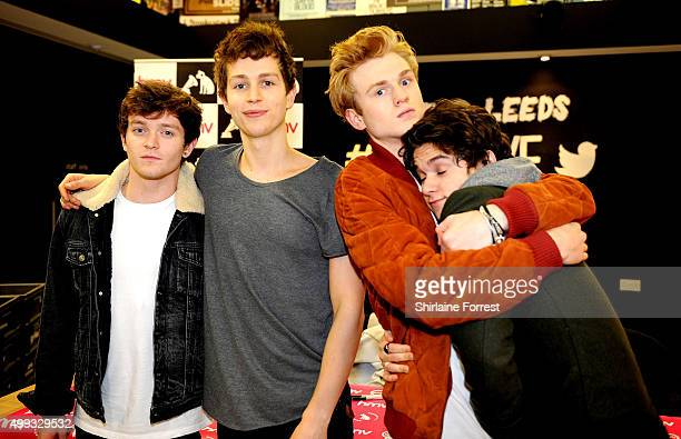 Tristan Evans Bradley Simpson James McVey and Connor Ball of The Vamps meet fans and sign copies of their new album Wake Up at HMV on November 30...