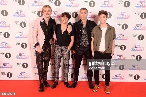 Tristan Evans Bradley Simpson James McVey and Connor Ball of The Vamps attend the BBC Radio 1 Teen Awards 2017 at Wembley Arena on October 22 2017 in...