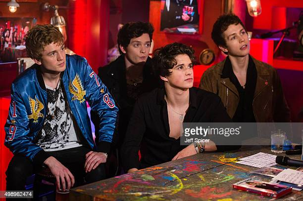 Tristan Evans Connor Ball Brad Simpson and James Daniel McVey from The Vamps during a live broadcast of 'TFI Friday' on November 27 2015 in London...