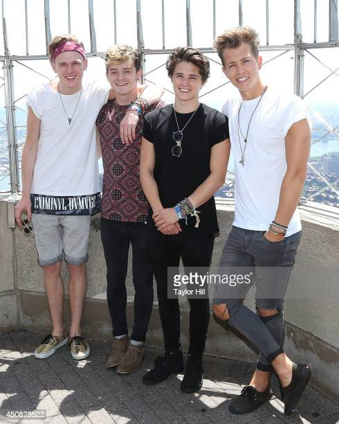Tristan Evans Connor Ball Brad Simpson and James McVey of The Vamps visit the Empire State Building to celebrate the release of their new single...
