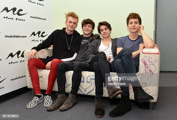 Tristan Evans Connor Ball Brad Simpson and James McVey of The Vamps visit 'Music Choice' on December 17 2015 in New York City