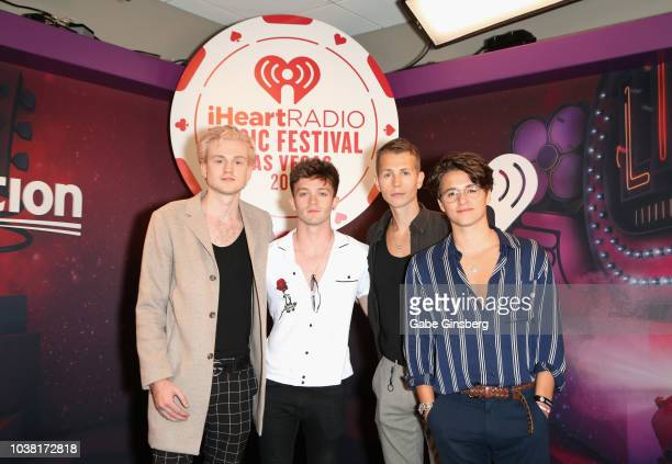 Tristan Evans Connor Ball James McVey and Bradley Simpson of The Vamps attend the iHeartRadio Music Festival at TMobile Arena on September 22 2018 in...