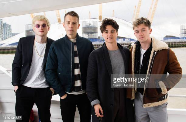 Tristan Evans James McVey Bradley Simpson and Connor Ball of The Vamps pose for a photocall to mark them becoming the first band to play at the O2...
