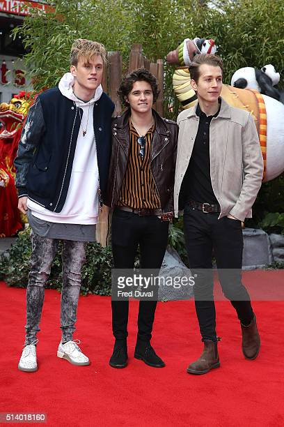 Tristan EvansBrad Simpson and JamesMcVey of The Vamps attends the European Premiere of Kung Fu Panda 3 at Odeon Leicester Square on March 6 2016 in...