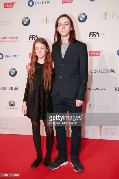 Tristan Goebel and his sister Gwendolin Goeble guest attends the nominee dinner for the German Film Award 2018 Lola at BMW Niederlassung Berlin on...