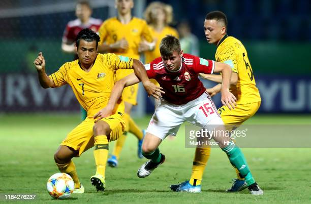 Tristan Hammond of Australia challenges Gergo Ominger of Hungary during the FIFA U17 World Cup Brazil 2019 Group B match between Australia and...
