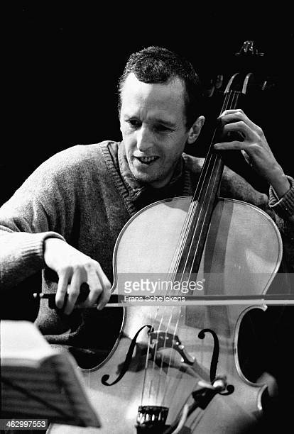 Tristan Honsinger, cello, performs at the BIM Huis on 29th March 1990 in Amsterdam, the Netherlands.
