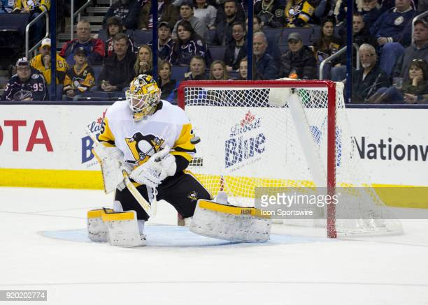 Tristan Jarry of the Pittsburgh Penguins block a shot during third period of the game between the Columbus Blue Jackets and the Pittsburgh Penguins...