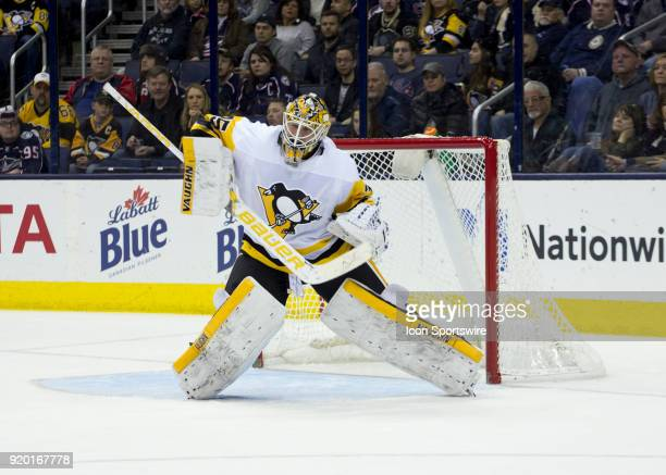 Tristan Jarry of the Pittsburgh Penguins deflects a puck with his pad during third period of the game between the Columbus Blue Jackets and the...