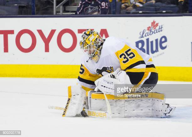 Tristan Jarry of the Pittsburgh Penguins makes a stop during third period of the game between the Columbus Blue Jackets and the Pittsburgh Penguins...