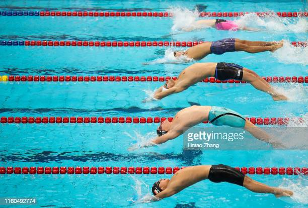 Tristan Jason Hollard of Australia competes in the Men's 100m Backstroke on day three of the 2019 FINA Swimming World Cup at Jinan Olympic Sports...