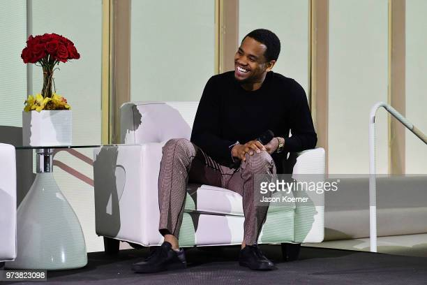 Tristan 'Mack' Wilds speaks on stage at the Cadillac Welcome Luncheon At ABFF Black Hollywood Now at The Temple House on June 13 2018 in Miami Beach...