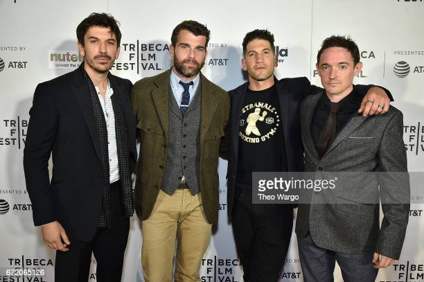 Tristan McConnell Stanley Weber Jon Bernthal and Hugh O'Conor attend the 'Pilgrimage' Premiere 2017 Tribeca Film Festival at Regal Battery Park...